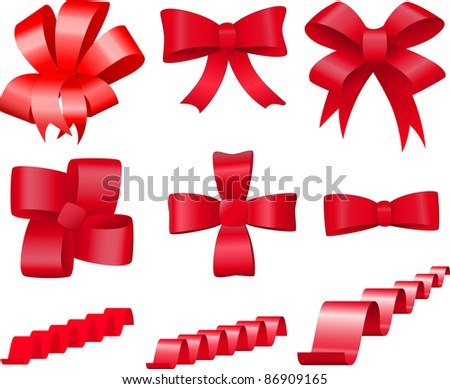 Set of red bows and ribbons for decoration and design - stock vector