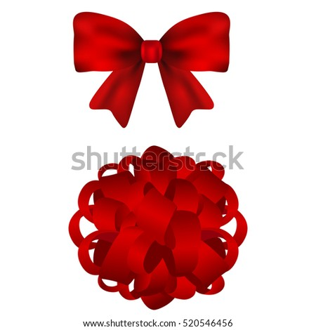 Set of red bows on a white background