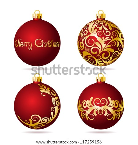 Set of Red Christmas balls on white background. Vector illustration. - stock vector