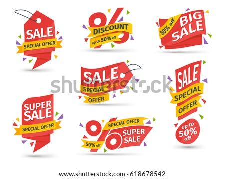 Set of red colored stickers and banners big set of beautiful discount and promotion banners