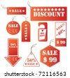 Set of red discount tickets. Vector. - stock vector