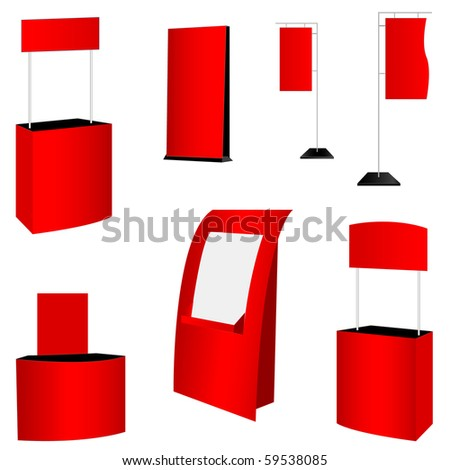 set of 7 red display. vector illustration - stock vector