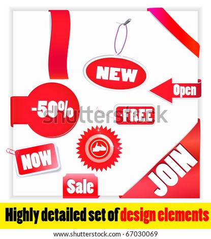 Set of red elements. New, -50%, join, FREE etc. Vector. - stock vector