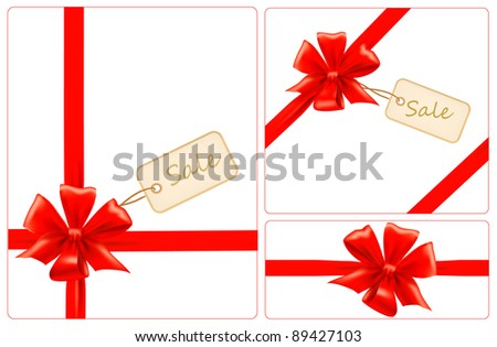 Set of red gift bows with ribbons and sale labels. Vector.