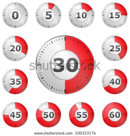 Set of red glass timers, vector eps10 illustration - stock vector
