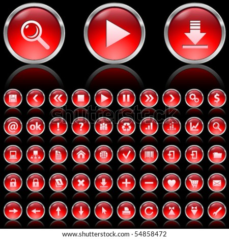 Set of red glossy icons on black background - stock vector