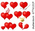 Set of red Hearts, illustration - stock vector