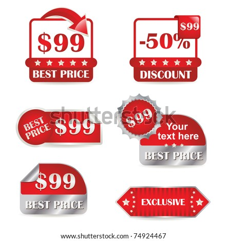 Set of red labels for sale