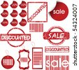 Set of red labels, tags, stamps and stickers - stock vector