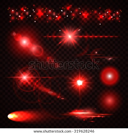 Set of red Light effects, spotlights, flash, stars and particles for your design. Vector illustration - stock vector