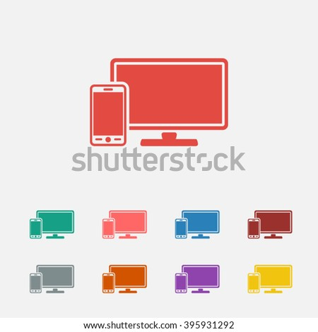 Set of: red Monitor phone vector icon