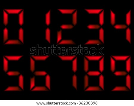 Set of red numbers on seven segment display
