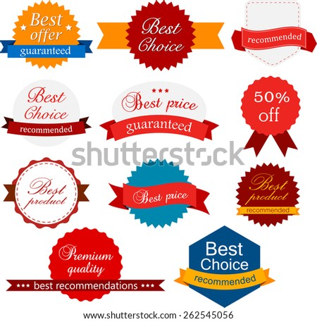 Set of red, orange and blue award badges. Vector illustration.  - stock vector