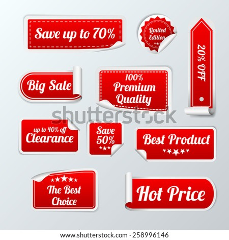 Set Of red paper SALE stickers on white background. Round, square and rectangular stickers. Vector illustration - stock vector