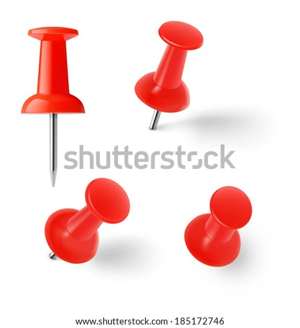 Set of red pins isolated on white background. Vector illustration. Realistic - stock vector