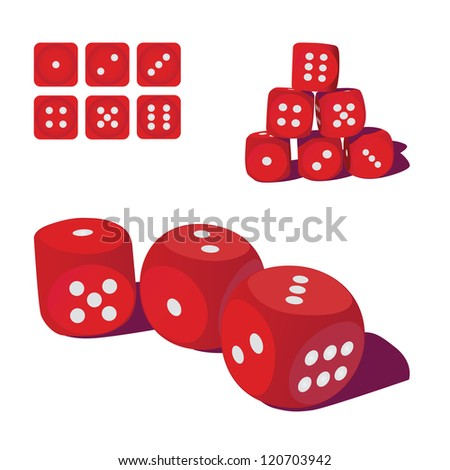 set of red playing dices, illustration - stock vector