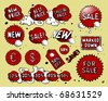 Set of red price tags - stock photo