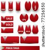 Set of red price tags. Vector illustration. - stock vector