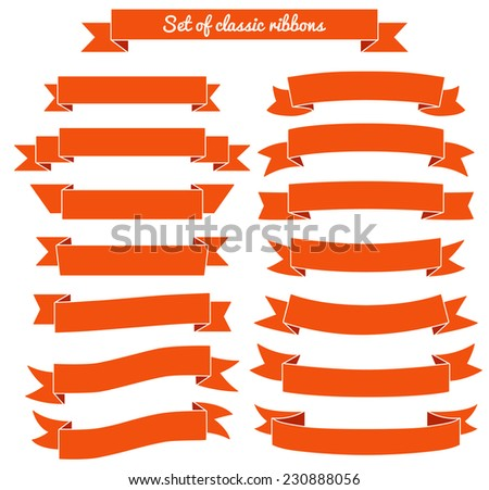 Set of red ribbon banners. Vector illustration.  - stock vector