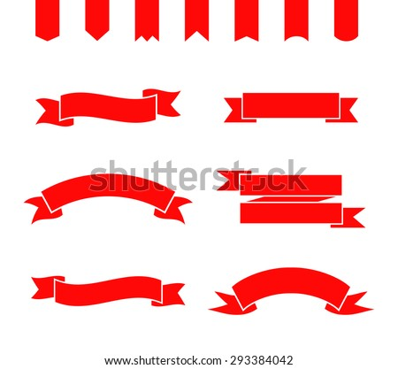 Set of red ribbons and banners. Collection of simple frames. Vector illustration. - stock vector