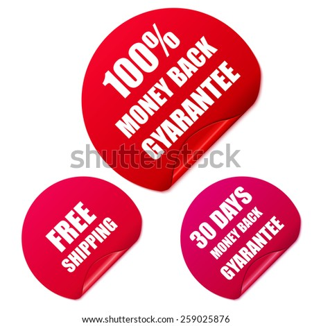 Set of red round stickers. Vector Illustration. - stock vector