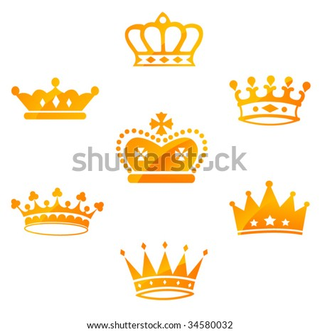 Set of Red Royal Crowns - stock vector