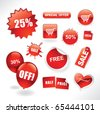 Set of red sale stickers, tags, buttons and icons for websites and print - stock vector