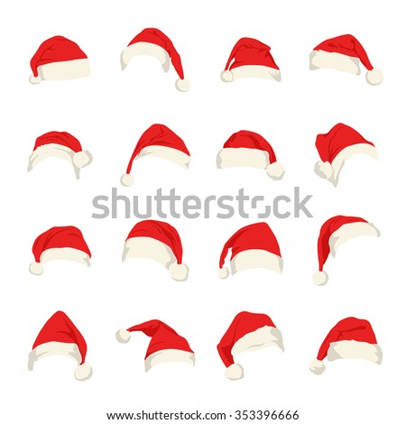 Set of red Santa Claus hats. Vector EPS8 illustration.  - stock vector
