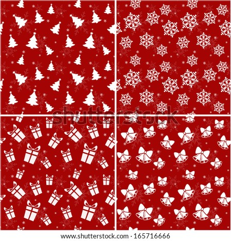 Set of red seamless patterns with Christmas and New Year symbols. Vector illustration. - stock vector