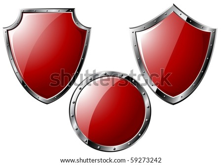 Set of red steel shields - isolated on white (vector) - stock vector