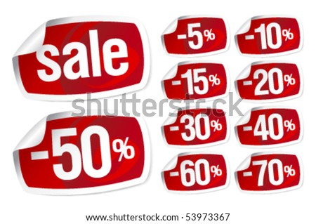 Set of red stickers for discount sale - stock vector