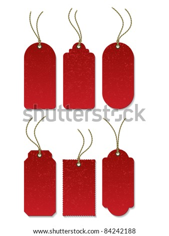 Set of red tag on the cord - stock vector