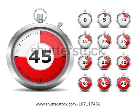 Set of red timers, vector eps10 illustration - stock vector