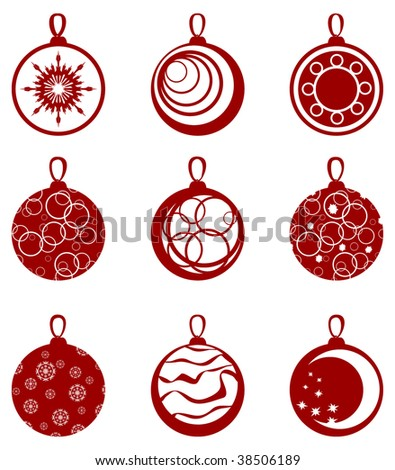 Set of red toys.vector illustration - stock vector
