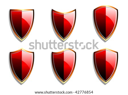 Set of Red Vector Armor Shields - stock vector