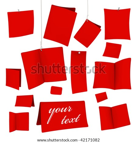 set of red vector blank white cards 07 - stock vector