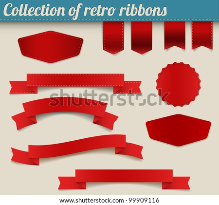 Set of red vector retro ribbons, labels, stickers, tabs and tags - stock vector