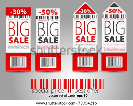 Set of red vector sale tickets - stock vector