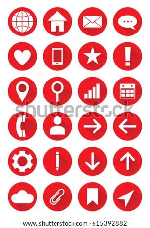 set red vector web icons websites stock vector 615392882 shutterstock