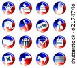 Set of red white and blue election icons (Eps10); jpg version also available - stock photo