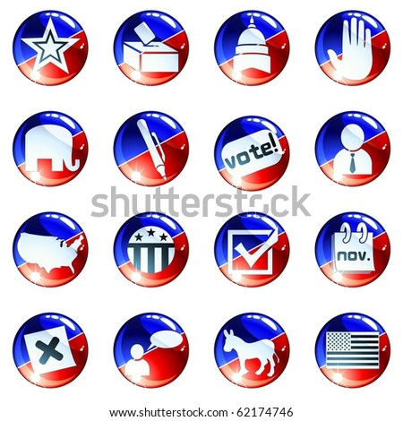 Set of red white and blue election icons (Eps10); jpg version also available - stock vector
