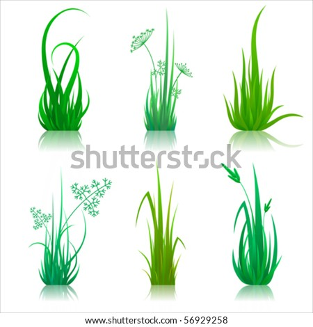 Set of reflected vector grass pattern - stock vector