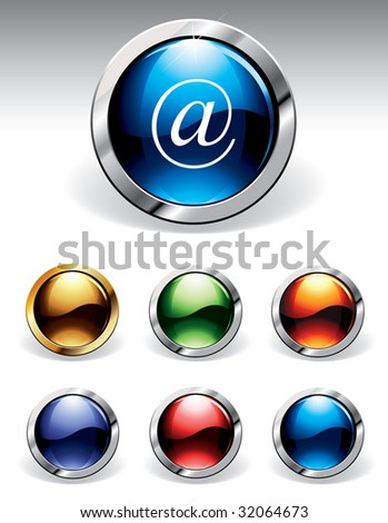 Set of reflective web buttons in six colors. Please visit my portfolio to find similar graphics. - stock vector