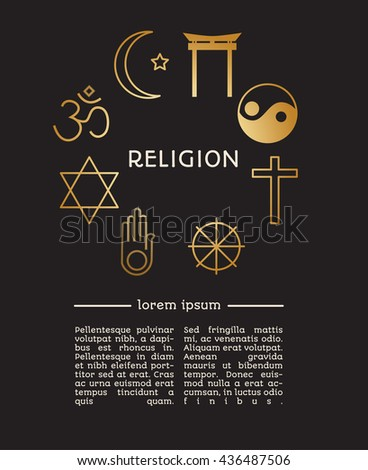 Set of religion icons in modern line style, with place for text for your project. - stock vector