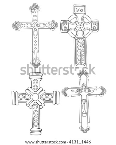 Set of Religious Crosses Doodles Hand Drawn Lineart Illustration Christian Jesus
