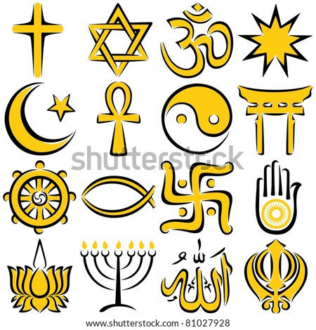 Set of 16 religious symbols executed in line art. - stock vector