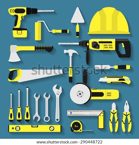 set of repair and construction tool icons, flat style illustration - stock vector