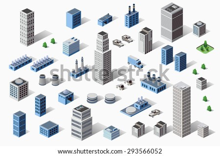 Set of residential and  urban industrial buildings, houses and home. Three-dimensional perspective of architectural details. Skyscrapers  in an top view. Volumetric modern town