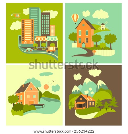 Set of residential buildings. Urban, rural, nearby lake and mountain ones. - stock vector