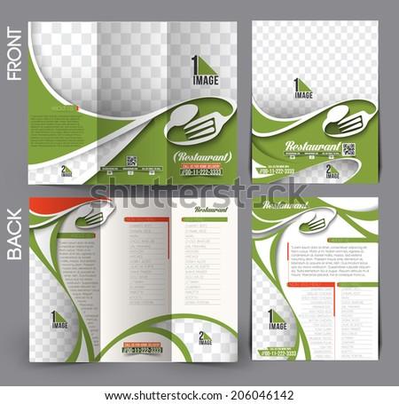 Set Restaurant Hotel Flyer Tri Fold Mock Stock-Vektorgrafik ...